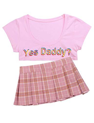 TiaoBug Damen Schulmädchen Kostüm Sexy Outfits Kurzarm Crop Top T-Shirt mit Spruch Kurz Bauchfreie Oberteile + Kariert Faltenrock Erotische Dessous Rosa One Size