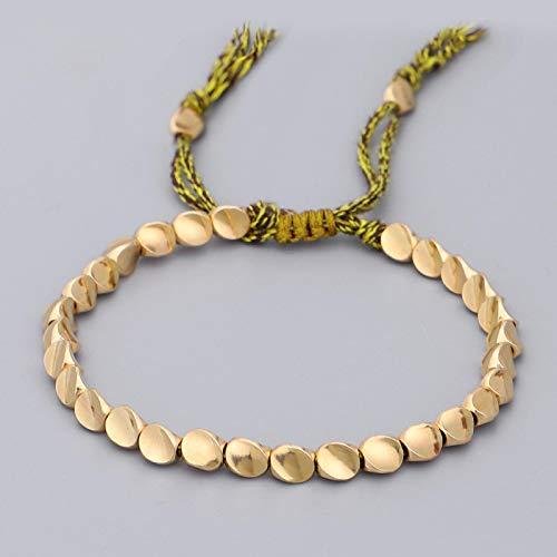 WWWL Pulseras para mujer Boho étnico irregular oro pulsera hombres tribu gitana pulsera ajustable Femme joyería tibetana 006-3