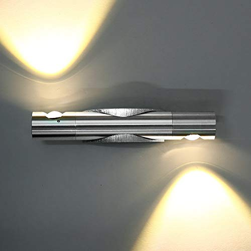 Lightess 6W LED Wandlampen innen Wandleuchte Innen Modern Up and Down Silber Flurlampe aus Aluminium Sconce Beleuchtung für Wohnzimmer Schlafzimmer Korridor Spiegellicht und Esszimmer, Warmweiß