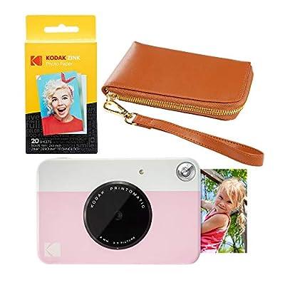 KODAK PRINTOMATIC Instant Print Camera (Pink) Brown Wrislet Carrying Case Kit by Kodak