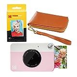 KODAK PRINTOMATIC Instant Print Camera (Pink) Brown Wrislet Carrying Case Kit