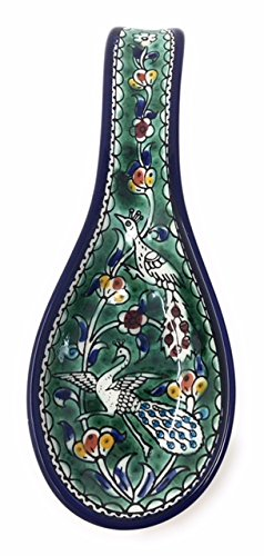 "AramediA Ceramic Handmade and Hand Painted Cooking Spoon Rest - Large with Deep Round Cup (10"" x 4"" x 1"") (Bird Green)"