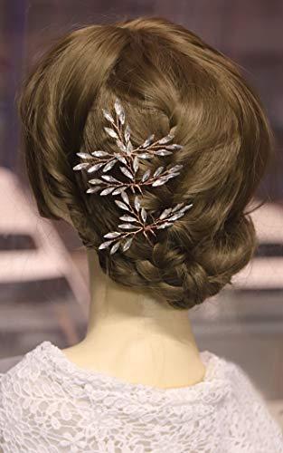Kercisbeauty Kristall Haarnadeln für Braut Hochzeit Brautschmuck Haarteil Rustikal Hochzeit Haar Kleid für Brautjungfer Haarschmuck für Frauen Mädchen (3er Set) (Roségold)