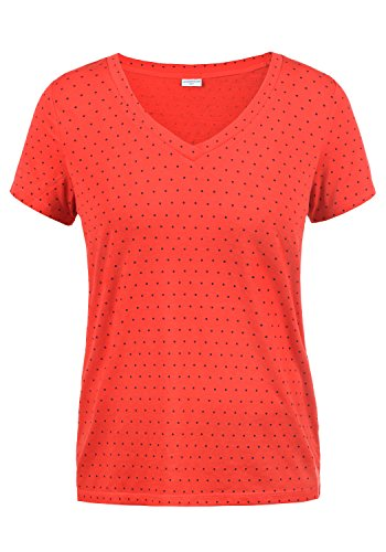Only Leonie Camiseta Básica De Manga Corta con con V-Neck, tamaño:M, Color:High Risk Red/Dots Sky Captain
