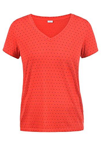 Only Leonie Camiseta Básica De Manga Corta con con V-Neck, tamaño:S, Color:High Risk Red/Dots Sky Captain