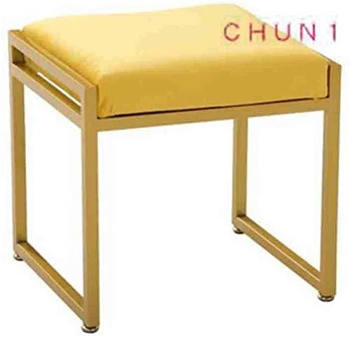 Vanidad de metal de heces, heces de maquillaje plaza de zapatos Cambio de banco individual sofá de la sala de heces 114 1010 (Size : Yellow)