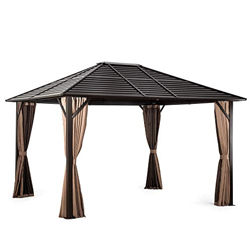 Pamapic 10'x12' Patio Gazebo Canopy Iron Hardtop Gazebos with Mosquito Net and Curtains, Outdoor Gazebos with Aluminum Frame for Garden, Courtyard, Lawn (Brown
