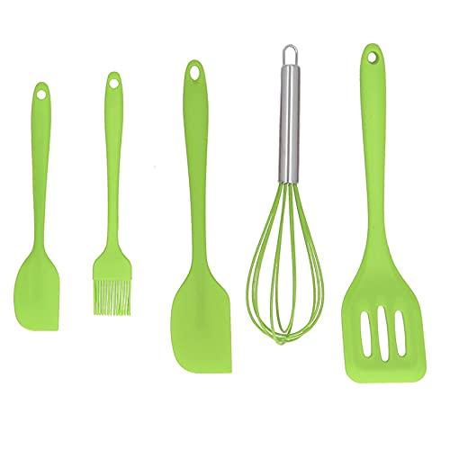 Juego de espátulas de silicona, 5 unids/set, espátula de silicona, utensilios de cocina DIY, herramienta para hornear, decoración de pasteles para panadería casera(Verde)