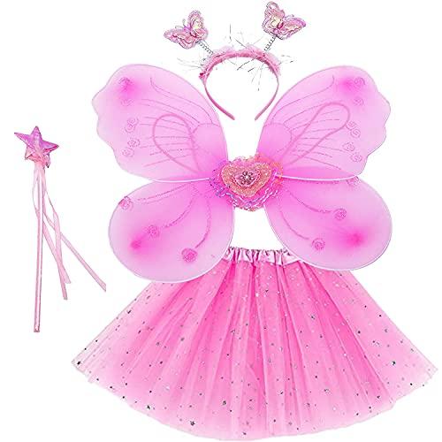 KUKUO Vestido de Hadas para Niña, 4 Piezas Disfraz de Hadas Incluye Alas de Mariposa Tutú Varita Mágica y Diadema con Lentejuelas, Juego de Disfraz Princesa para Cumpleaños Carnaval Halloween, Rosa