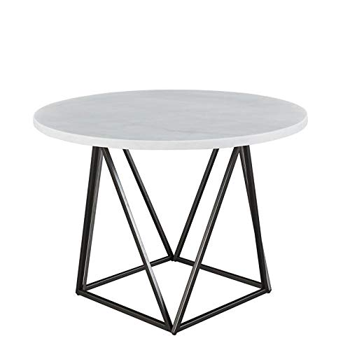 XPRESS WORLD Steve Silver Ramona White Marble Top Round Metal Dining Table