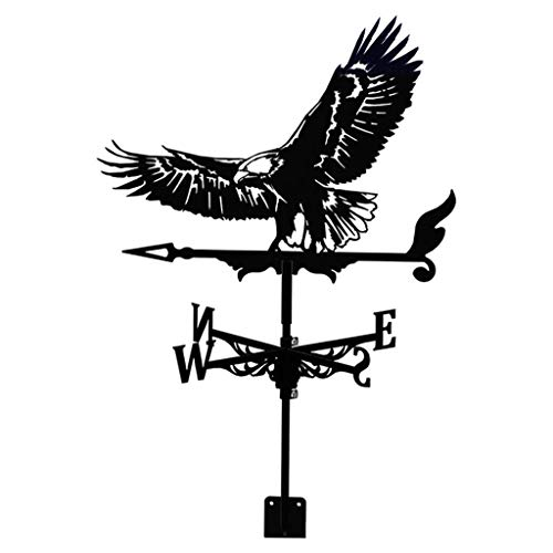 YIWOYI Weathervane with Animal Ornament,Garden Stake Weather Vane,Black Weathervane Roof Mount Weather Vane Outdoor Yard Garden Barn (Eagle)