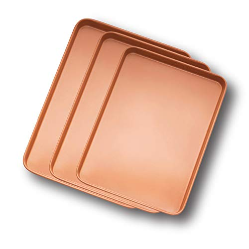 GOTHAM STEEL 3 Pack Cookie Sheet, Copper