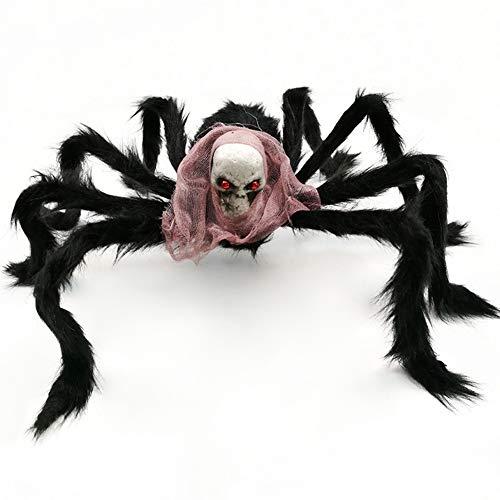 Halloween Black Spider Giant 50cm Ragnatela lungo peluche Decorazioni di Halloween Ragnatela gigante Ragno peloso Spaventoso Spooky Puntelli di Halloween per casa stregata Indoor Outdoor Yard Decor