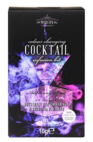 Modern Gourmet Foods - Geschenk-Set Für Blauen Gin Mit Farbwechsel - Inkl. Butterfly Pea Flower Tee & Cocktail-Sieb
