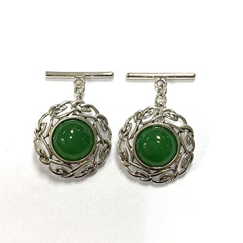 Celtic Style Green Jade Love Knot Cufflinks 925 Sterling Silver Mens Gift