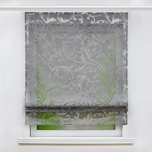 Joyswahl Voile Raffrollo mit Klettschiene Romantsiches Ausbrenner Design mit Druck Raffgardine Schals Fenster Vorhänge BxH 100x140cm Grau 1er Pack