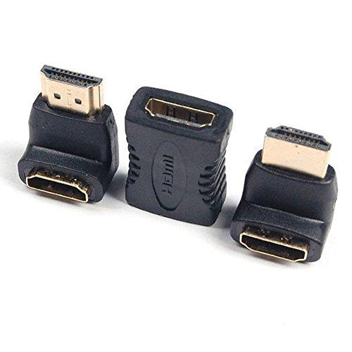 JBSTK HDMI Adapter Set HDMI auf HDMI Kupplung VerlangerungHDMI Stecker auf HDMI Buchse 270 WinkeladapterHDMI Stecker auf HDMI Buchse 90 WinkeladapterVERGOLDETE Kontakte1080p Full HDSchwarz