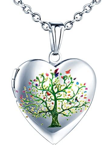 Yumilok Cadena para mujer, medallón, cadena para foto, colgante de corazón, amuleto, acero inoxidable, joya para niña y madre, Acero inoxidable,