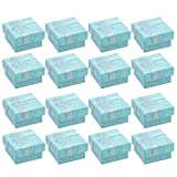 STOBOK 16pcs Cardboard Ring Gift Box Ribbons Bowknot Jewelry Storage Case for Ring Earring Ear Bangle Weddings Birthdays Supplies (Sky-Blue)