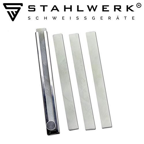 STAHLWERK Schweisserkreide Schweissermarker Stift mit 4 Specksteinkreidestücken zum markierenaus Stahl, Edelstahl, Aluminium uvm