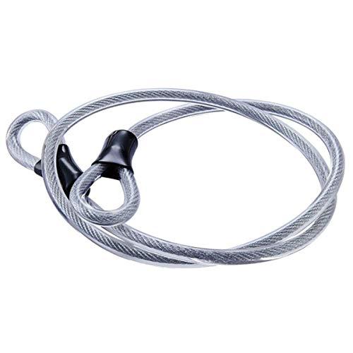 Cavo di sicurezza in acciaio inossidabile, cavo in acciaio intrecciato a doppio anello blocco flessibile blocco cavo Lucchetto a U da 3/8 di pollice, lucchetto, fune metallica trasparente con anello