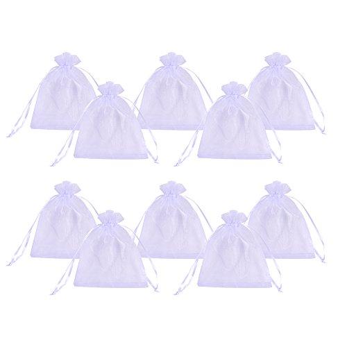 PandaHall 200pcs 10x12cm Bianco transparenti Sacchetti Coulisse Organza sacchettini portariso portaconfetti bomboniere per Matrimonio Compleanno Battesimo Comunione Nascita Natale
