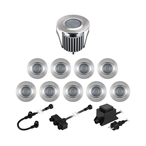 Ronde Lot de 11 65lm//luminaire Parlat LED luminaires encastrables dans Le Sol BODES pour lext/érieur Mate 50mm /Ø Blanche-Froide