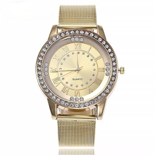 QWYU Las mujeres Rhinestone reloj moda casual mujeres plata oro rosa malla relojes regalo reloj Relogio feminino oro