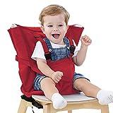 Asiento elevador para bebé, silla de bebé, silla de comedor, silla de bebé, móvil, portátil, plegable y portátil. (Rojo)