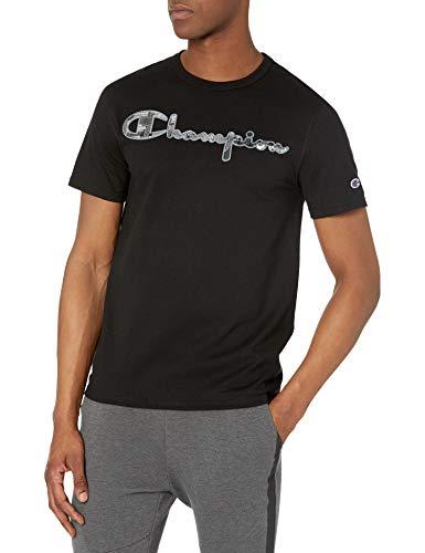 Champion Herren Heritage Tee T-Shirt, Schwarz-Script Applique Logo, X-Groß