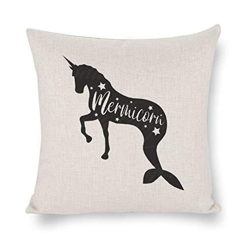 DONL9BAUER MermicornUnicorn Png Premium Funda de almohada decorativa para regalo, funda de cojín moderna para dormitorio, sofá, sala de estar, coche.