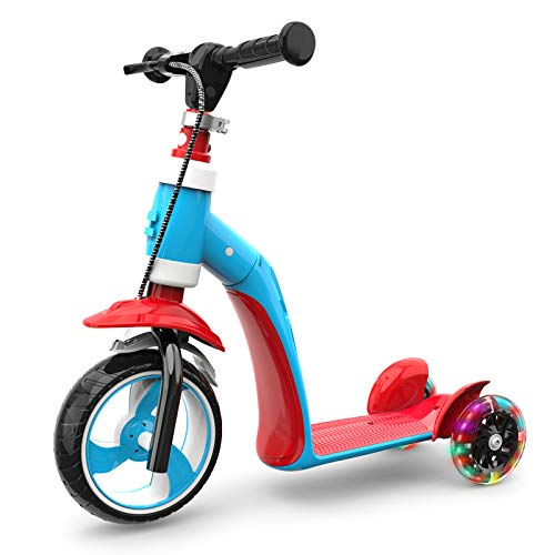 LITIAN 1-3 Jahre alt Kinder Scooter Can Sit Kind Baby Multi-Funktions-DREI-Rad-Flash-Scooter Red Blue