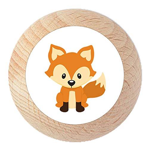 Möbelknauf Fuchs natur klar lackiert Holz Kinder Kinderzimmer 1 Stück Waldtiere