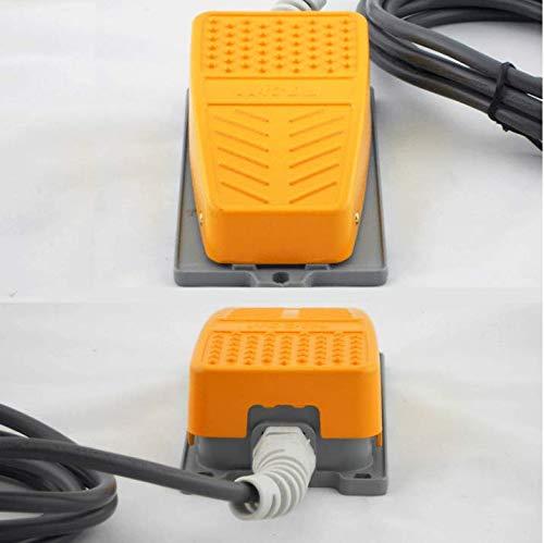 Mioke Interruptor de pie Industrial Metal - 250V 15A - con 2M Cable,Resistente al aceite