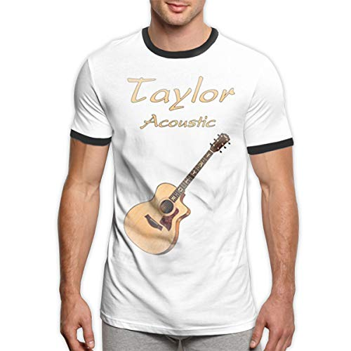 ZooJane Black Ringer Shirt Men with Taylor Acoustic Guitars XXL