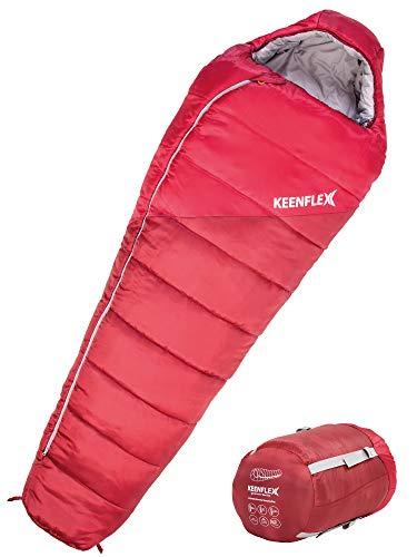 Sac de Couchage Hiver KEENFLEX 4 Saisons Plage de température 0°C à -23,4°C (Rouge)