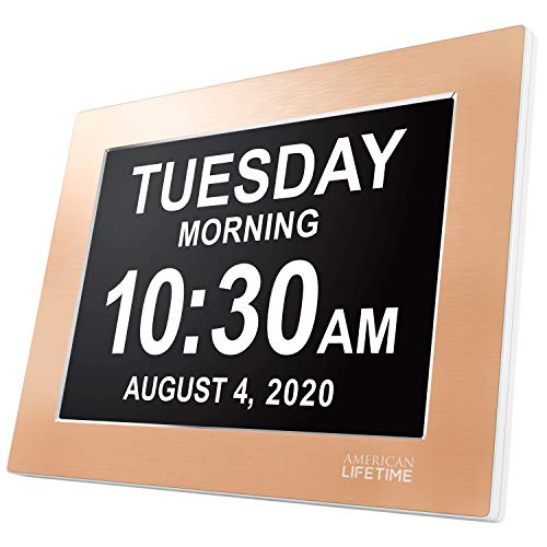 American Lifetime, Premium Version, Day Clock Extra Large Impaired Vision Digital Clock with Battery Backup and 5 Alarm Options Limited Edition, Gold Color Metal Frame