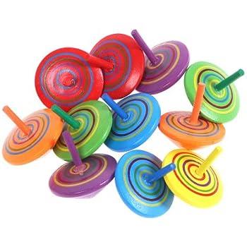 14 pièces Mini Toupie en bois, pour Jouet de Fête des Enfants (Couleur Aléatoire)
