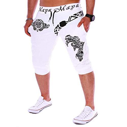 Pantalones Cortos Hombre Verano 2019 Nuevo SHOBDW Casual Impresión de Letras Pantalones Hombre Chandal Cordón Elástico Suelto Pantalones Cortos Hombre Deporte Bolsillos Tallas Grandes(Blanco,XXL)