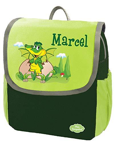 Mein Zwergenland Kindergartenrucksack Happy Knirps Next mit Name Dino, 6L, Grün