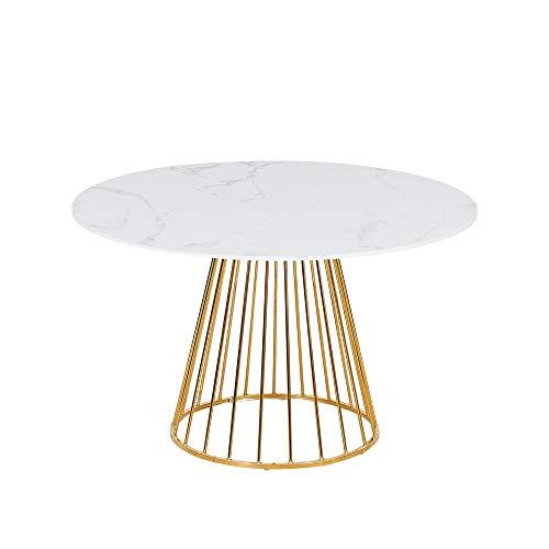 Verona Mesa de comedor redonda efecto mármol con patas doradas, 6 plazas, 120 x 120 cm (parte superior de efecto mármol blanco)