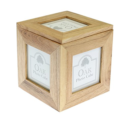 Photo Frames Caja de recuerdo de foto de madera de roble natural 3 x 3 pulgadas