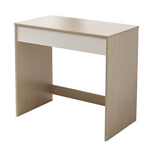 Panana Wood Office Desk Small Computer Workstation PC Laptop Writing Table with Drawer Home Office Adults Kids Children Oak and White