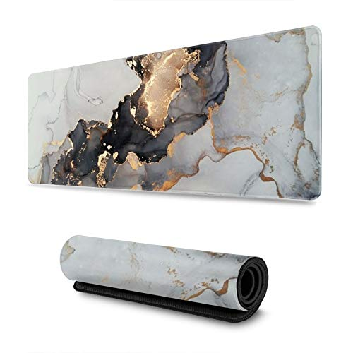 Black White Ink Marble Art Painting Gaming Mouse Pad, Long Extended XL Mousepad Desk Pad, Large Non-Slip Rubber Mice Pads Stitched Edges, 31.5'' X 11.8''