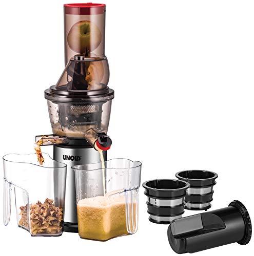 Unold 78265 Slow JUICER 3 in 1, Große Einfüllöffnung, 60 U/min, 3 Siebe, Automatische Trennung von Fruchtfleisch und Saft, BPA-frei, Schwarz