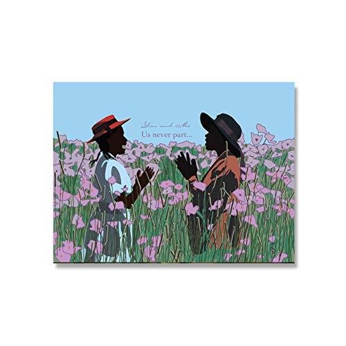 NFGGRF El Color púrpura Mujer película Arte Moda Cartel película impresión Feminista Lienzo Pintura para Sala de Estar decoración del hogar-60x80cm sin Marco