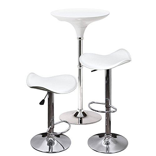 お得 3点セット ラウンド バーテーブル (高さ111cm)艶 おしゃれ 白 シンプル レザー バーチェア カウンターチェア セット (ホワイト)