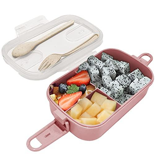 Dolinvo Fiambrera Comida Trabajo con 3 Compartimentos Rectangular con Cubiertos para Niños Adultos Bento Box Infantil Colegio Caja de Almuerzo Hermetica para Microondas y Lavavajillas (Rojo 1000ml)