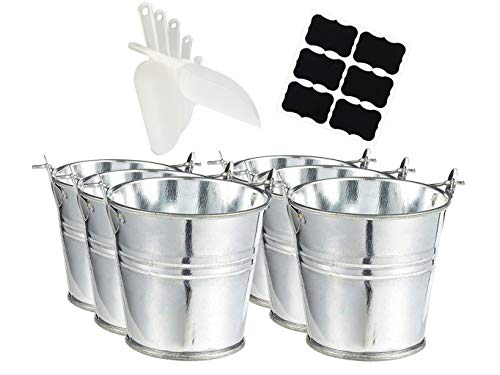 """Large Galvanized Metal Buckets with Chalkboard Stickers and 5.5"""" Mini Plastic Kitchen Scoops -Set of 6 Pails with Stickers and Scoops"""