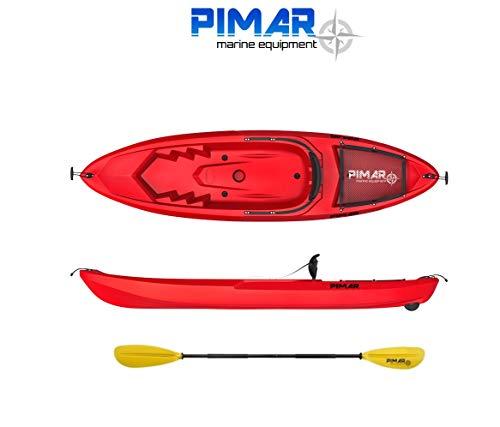Pimar Nautica Kayak - Canoa da 266 Cm + 1 Gavone + 1 Pagaia + 1 Seggiolino + 1 Ruotino (Colore Rosso) (Rosso)